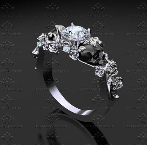 Sapphire Studios 'St. Ivy' 1.00ct Sterling Silver Skull