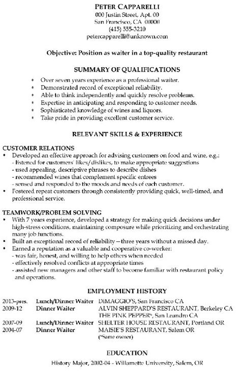 this is a sle resume for a waiter who has been in his