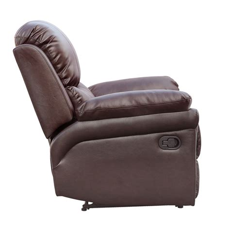 Madison Brown Real Leather Recliner Armchair Sofa Home Real Leather Recliner Sofas
