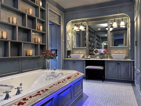 romantic bathroom ideas hgtv blue bathroom with chromotherapy tub hgtv