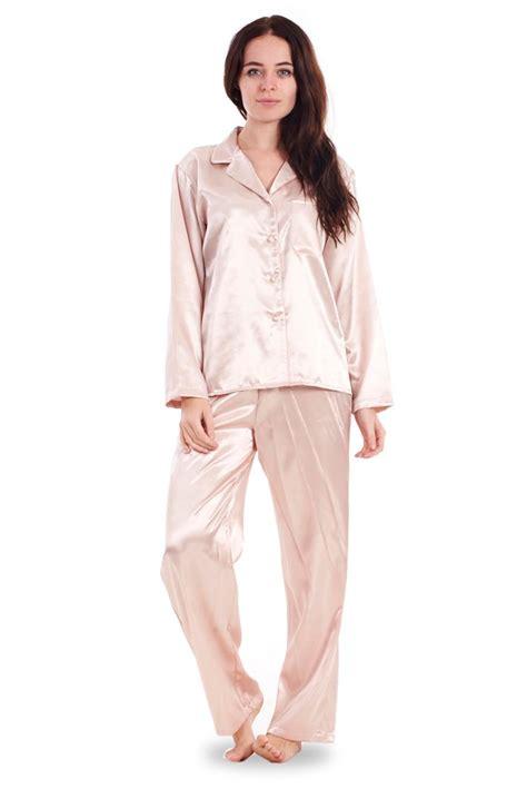 Pj Sleeve Crene satin pyjama set pj s cerise length womens