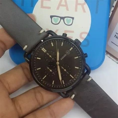 jam tangan pria fossil fs  black leather kulit