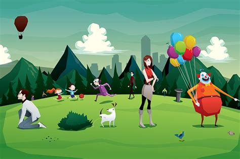 cartoon park city illustration illustrations creative market