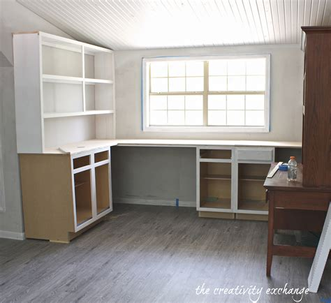 desk with cabinets built in create built in shelving and cabinets on a tight budget