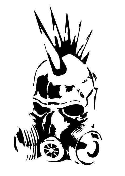 punk gas mask stencil  skayp gas mask art stencil