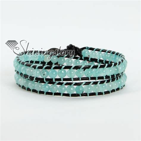 leather bead bracelets jade bead beaded wrap leather bracelets wholesale