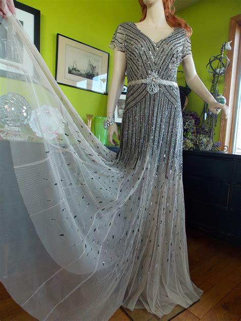 beaded deco wedding dress deco great gatsby dress beaded flapper wedding dress