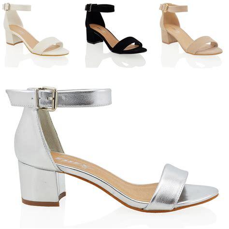 Sandal Heels Ip21 3 womens block low heel peep toe buckle ankle sandals shoes size 3 8 ebay