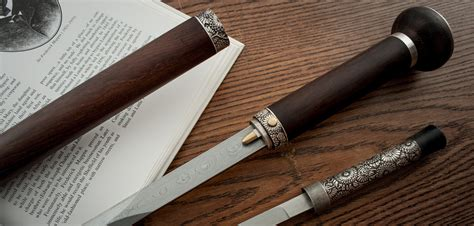 walking stick w sword inside damascus sword with pearl accents from king