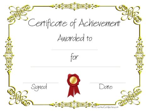 Free Customizable Certificate Of Achievement Certificate Of Achievement Template