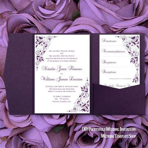 eggplant pocket wedding invitations pocket invitation template diy printable wedding wedding