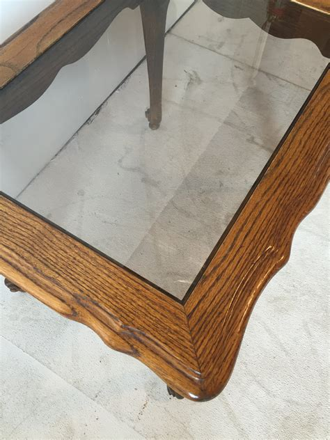 oak with glass top route 66 furniture 187 oak glass top end