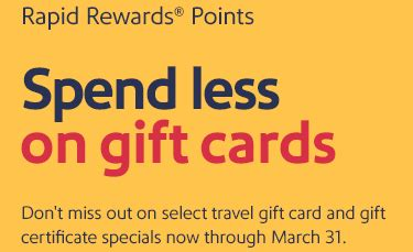 Southwest Gift Card For Sale - several gift cards on sale using southwest points running with miles
