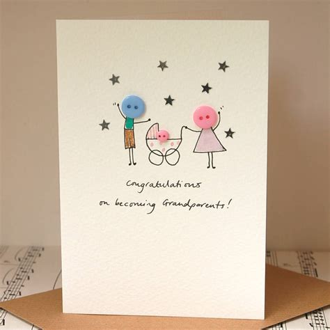 personalised button pram handmade new baby card by