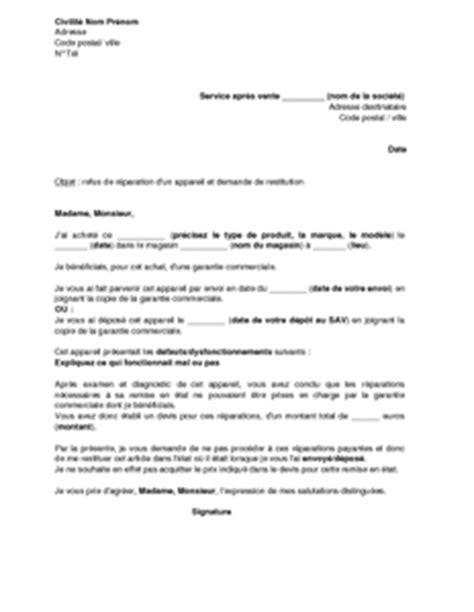 Exemple De Lettre De Prise En Charge Pour Visa Etudiant Canada Lettre De Refus Des R 233 Parations Non Prises En Charge Par La Garantie Commerciale Sav Et Demande