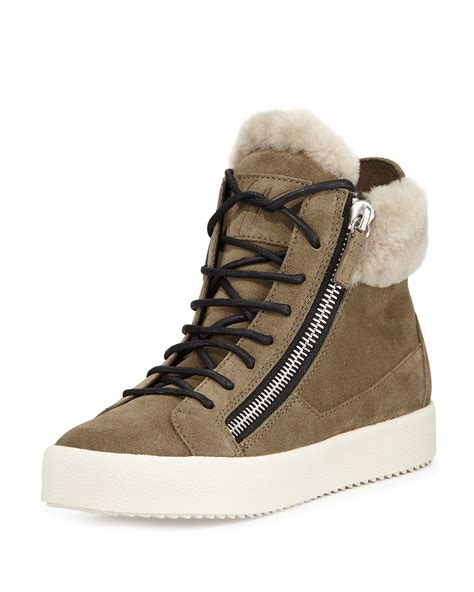 shearling lined sneakers giuseppe zanotti maylondon shearling fur lined sneaker in