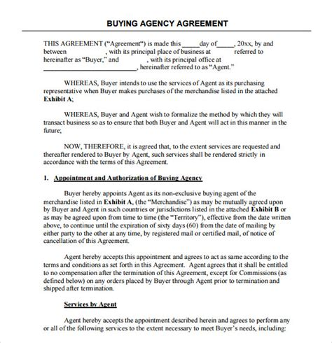 agency agreement templates word  pages