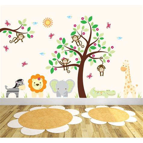 Deluxe Safari Nursery Wall Art Stickers Safari Nursery Wall Decals