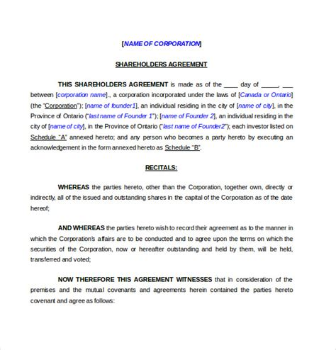 template shareholders agreement shareholder agreement templates 11 free word pdf