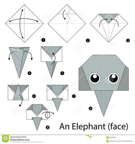 How To Make An Origami Elephant Step By Step - step by step how to make origami an elephant