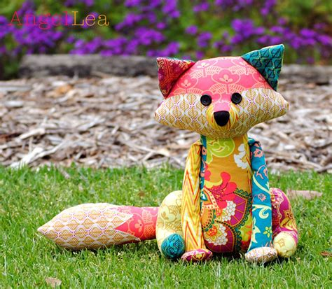 Patchwork Stuffed Animal Patterns - fox softie pdf sewing pattern francie the fox stuffed animal
