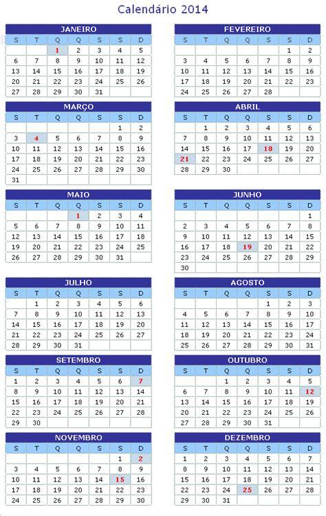 Calendã E Feriados 2014 Calend 225 171 Peregrino Mutante