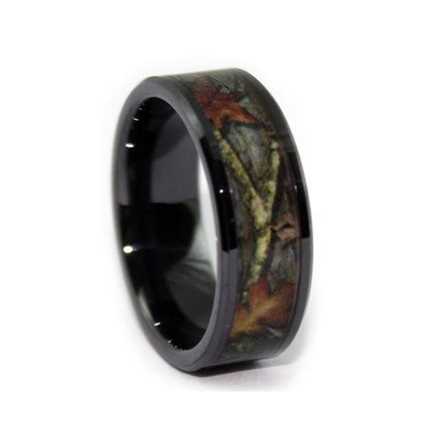 Camo Wedding Rings   Black Ceramic Ring   Camouflage Band
