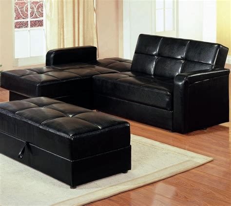 small black leather sofa bed centerfieldbar