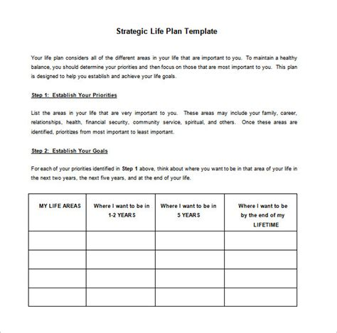 personal strategic plan template inspiring strategic plan template exle for