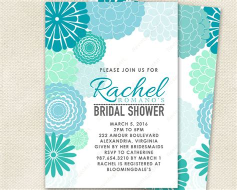 aqua blue wedding invitations turquoise mint bridal shower invitation with mod floral design aqua blue and teal modern