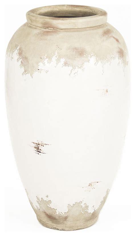 Large White Vases by Siena White Rustic Distressed White Large Ceramic Vase