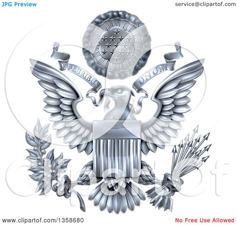 e pluribus unum tattoo clipart of a 3d silver great seal of the united states