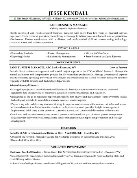 Resume Template Business by Best Business Manager Resume Sle 2016 Recentresumes