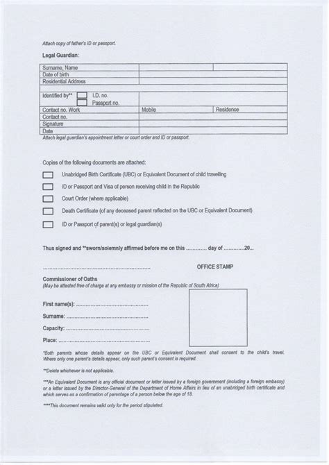 affidavit of parental consent form template affidavit of parental consent form template images