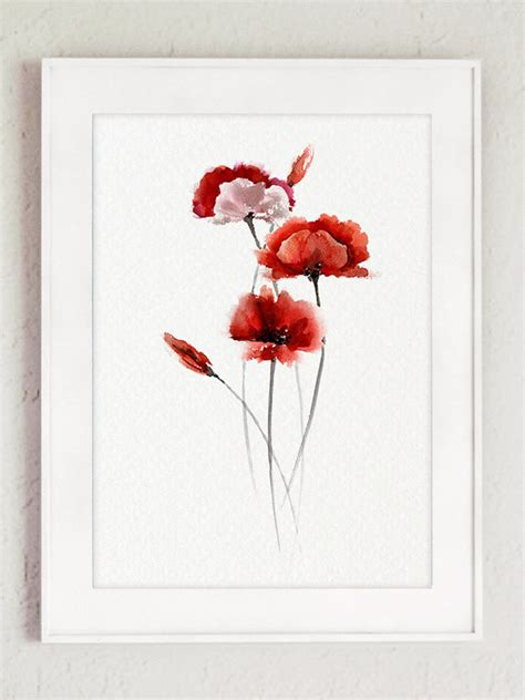 poppy home decor abstract poppy flower red living room decor watercolor