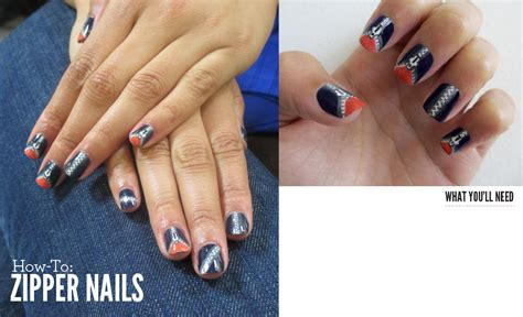 nail art tutorial funky blue zipper how to zipper nails beautylish