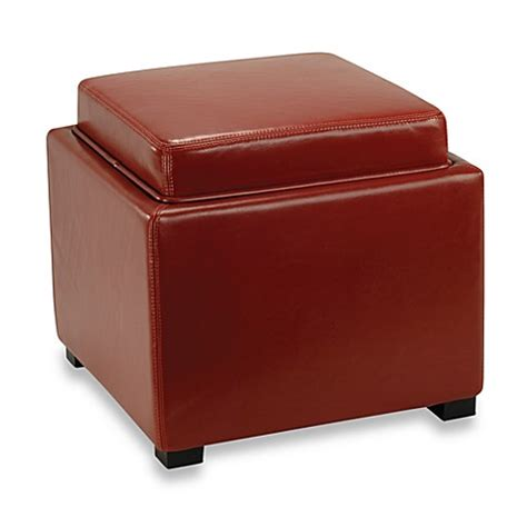 Buy Safavieh Hudson Bobbi Leather Storage Ottoman In Red Hudson Ottoman