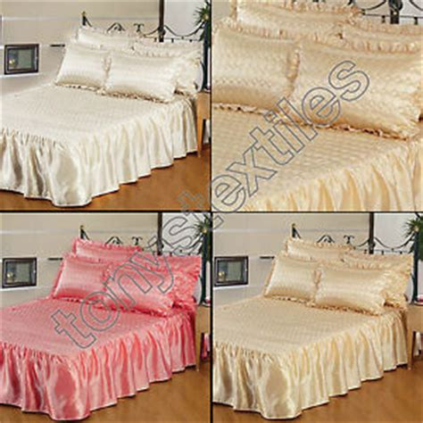 satin throws bedroom quilted satin bedspread bed throw pillowcase single double