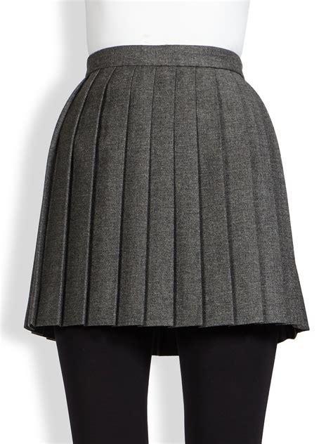 grey pleated mini skirt dress