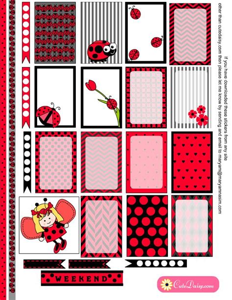 printable bug stickers free printable ladybug stickers for happy planner free
