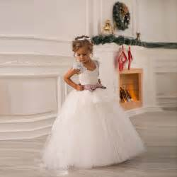 Girls Dresses For Weddings Flower Dresses For Weddings With Ribbon Ball Gown Simple Cheap 2016 Lace Appliques Ivory