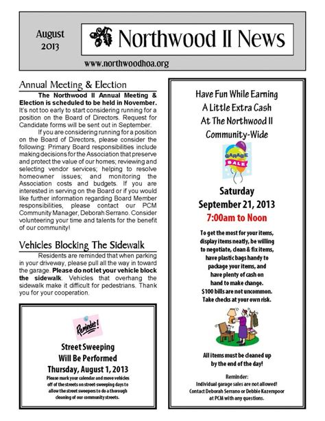 August 2013 Northwood Ii Nwii Hoa Community Association Newsletter Irvine Ca 92620 Hoa Directory Template