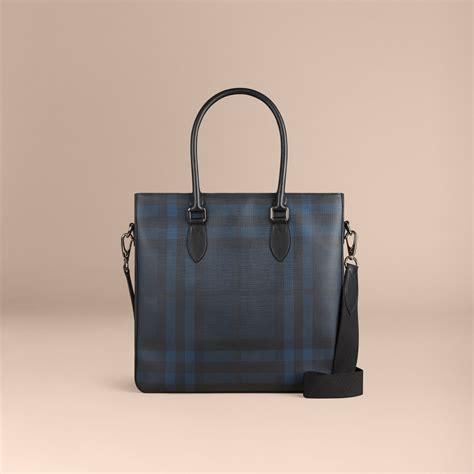 check in bag united london check tote bag in navy black men burberry