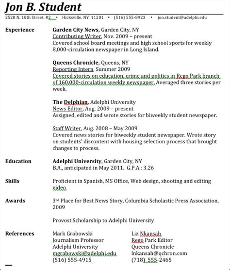 writing education on resume journalism advice