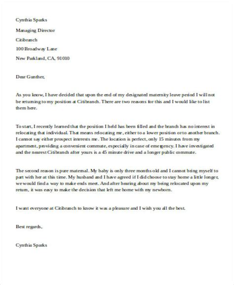 resignation letter after maternity leave 5 sle maternity resignation letter free sle