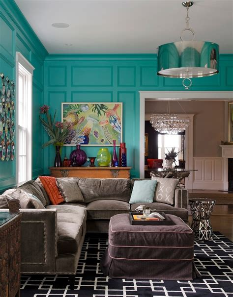 Turquoise Wall Paint Living Room Rustic With Elephant