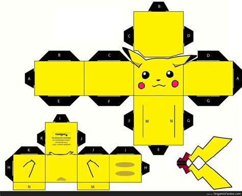 Pikachu Papercraft Template - 3d papercraft car interior design