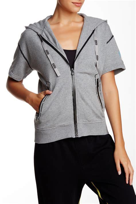 Sleeve Zip Hoodie marc by marc sleeve zip up hoodie in gray lyst