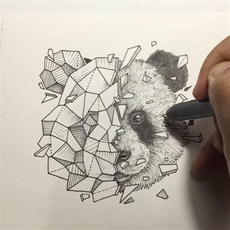 tattoo panda dessin geometric animals panda yast geometric vector