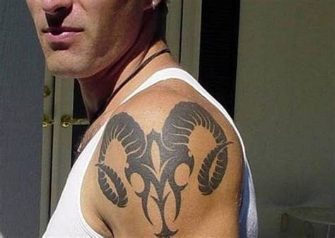 Awesome Zodiac Aries Tattoo On Shoulder For Men Awesome Shoulder Tattoos For Guys